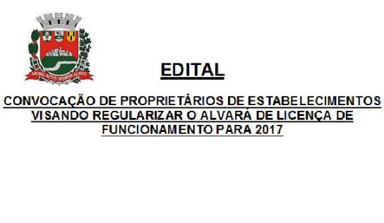 CONVOCAÇÃO DE PROPRIETÁRIOS DE ESTABELECIMENTOS VISANDO REGULARIZAR O ALVARÁ DE LICENÇA DE FUNCIONAMENTO PARA 2017