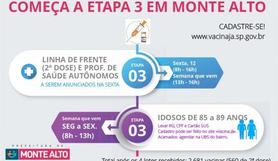 """Com """"1001 vacinas"""", Monte Alto começará segunda dose"""