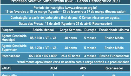 IBGE abre 51 vagas temporárias para o Censo 2021 em Monte Alto