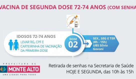Com senha, segunda dose 72-74 será aplicada na UBS Silvio Govoni