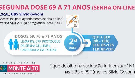 Com 'senha' on-line, segunda dose de 69 a 71 anos será aplicada em 4 datas