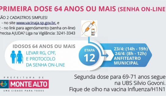 Vacinação: sexta e sábado haverá 1ª dose de 64 anos ou mais